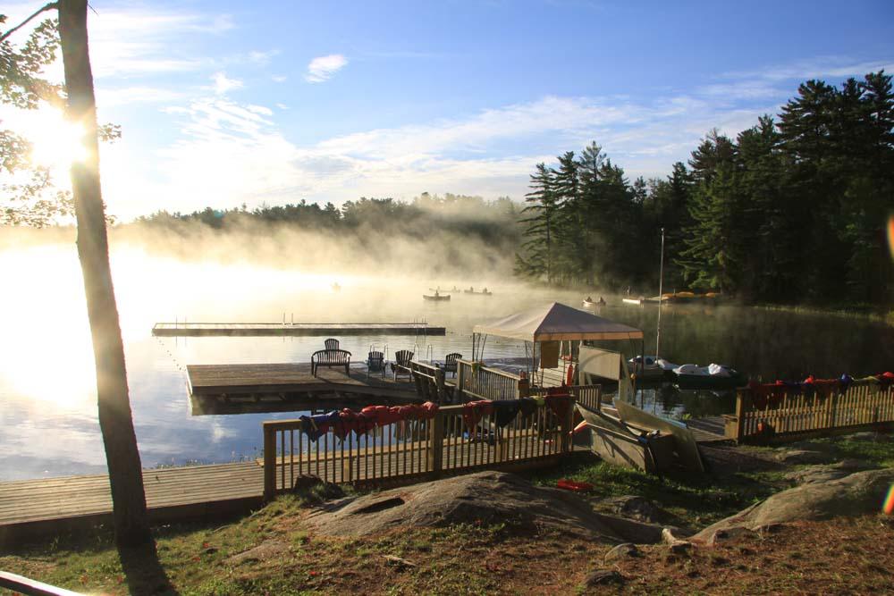 Kayak dock on Lake Donner in the morning