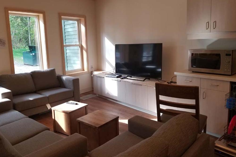 Flex housing living room area and TV